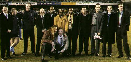 The 1987 Cup-winning Team at Highfield Road before City's 2002 FA Cup 3rd Round match against Spurs on 16th January 2002 - Back Row: Nick Pickering, Trevor Peake, Steve Ogrizovic, Greg Downs, Cyrille Regis, Dave Bennett, Lloyd McGrath, Dave Phillips, Steve Sedgeley, Brian Borrows, Keith Houchen. Front Row: Brian Kilcine, Micky Gynn